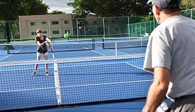 Delray Beach, Fl. -- Having completed her treatment in September, Goldstein is starting to feel better, and the virus is no longer detectable in her blood. She now knows sheÕll be able to go on caring for her aging parents. And sheÕs looking forward to having more energy for pickleball, a sport somewhat like badminton or tennis thatÕs her main social outlet. Photo by Peter W. Cross